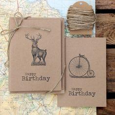 Rustic brown kraft Birthday cards