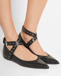 fb1f691407525 VALENTINO Love Latch eyelet-embellished leather point-toe flats
