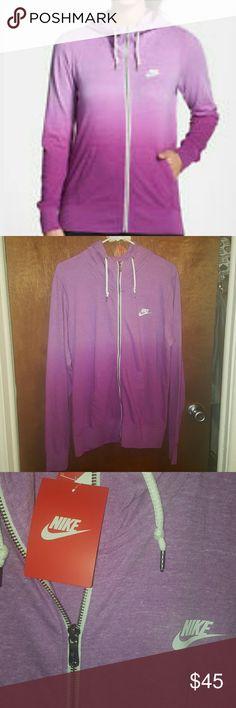 BNWT Women's Nike gym vintage hoodie sz XL Brand new nike dip dye purple Nike vintage hoodie in sz XL. Made of 60% organic cotton and 40% recycle polyester. Super cute! Nike Tops Sweatshirts & Hoodies