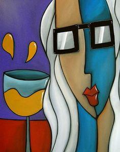 "Abstract Wine Art - ""Hair of the Dog"" by Tom Fredo Abstract Face Art, Abstract Geometric Art, Unique Drawings, Art Drawings, Pinturas Art Deco, Art Doodle, African Art Paintings, Sunflower Wallpaper, Wine Art"
