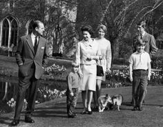 The Queen and The Duke of Edinburgh with Prince Charles, Prince Andrew and Princess Anne Wall Art & Canvas Prints by Anonymous Prince Andrew, Prince Charles, Prince Philip Queen Elizabeth, Prince Edward, British Royal Families, Paris Match, Royal Life, Royal Babies, Windsor Castle