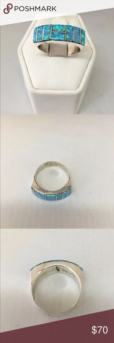 SS Zuni Baby blue opal Beautiful Sterling silver Zuni baby blue opal ring. Size 8.  Pictures don't do it justice. Jewelry Rings