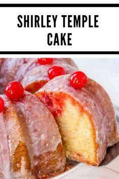 Shirley Temple Cake {Easy Bundt Cake Recipe w/ Maraschino Cherries} recipes easy homemade Cake Recipes For Kids, Cake Recipes From Scratch, Best Cake Recipes, Dessert Recipes, Desserts, Bunt Cakes, Cupcake Cakes, Cupcakes, Shirley Temple Cake Recipe