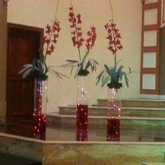 Orquideas en bases de Cristal  Altar Casa Apostólica Mar de Galilea
