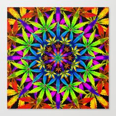 Stoners' Mandala Canvas Print by The Weed Art Lady -Genuine poly-cotton canvas -Incredibly vibrant print quality -Long lasting Epson archival inks -Pre-installed hanging hardware -Hand trimmed and stretched wrap fir wood stretcher bars Mandala Comforter, Mandala Duvet Cover, Mandala Canvas, Mandala Art, Simple Mandala, Weed Art, Canvas Prints, Art Prints, Buy Frames