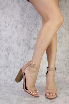 Taupe Buckle Detailing Open Toe Single Sole Chunky High Heels Suede