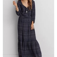 Boho dress American Eagle boho dress. Unique and flows beautifully when you walk.  American Eagle Outfitters Dresses Maxi
