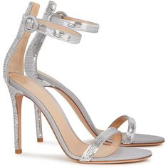 Gianvito Rossi Palladium silver sequinned satin sandals ($725) ❤ liked on Polyvore featuring shoes, sandals, open toe sandals, strappy sandals, high heeled footwear, high heel sandals and silver strappy shoes