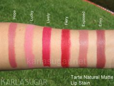 Tarte, Natural Matte Lip Stain, lipstain, swatches, Hope, Lucky, Lively, Fiery, Exposed, Envy, KarlaSugar, Karla Sugar