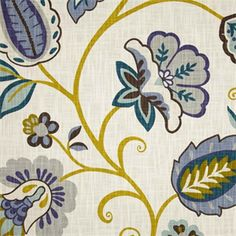 Petal Pusher Juniper Blue Cotton Floral Drapery Fabric - SW37507 - Fabric By The Yard At Discount Prices