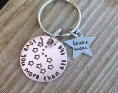 Personalized hand stamped keychain copper and stainless steel I love you more than all the stars gift from mom