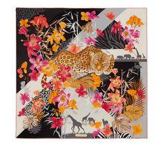 Salvatore Ferragamo silk scarf, Leopard in Flower Garden