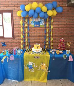 Decoração aniversário tema Hora da Aventura. Adventure Time.
