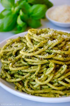 Whip up a restaurant-worthy recipe for The Best Basil Pesto that's perfect for tossing with your favorite pasta. | recipe from justataste.com #recipe #pesto #pasta @justataste