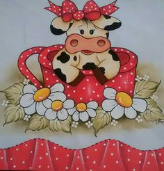 Discover thousands of images about Hhj Quilting Projects, Sewing Projects, Projects To Try, Tole Painting, Fabric Painting, Rock Crafts, Diy And Crafts, Cow Pattern, Cute Cows