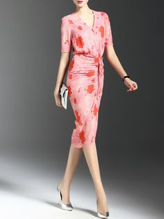 Sexy Floral V Neck Short Sleeve Printed Midi Dress