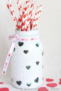 DIY Heart Mason Jar...I would do stars