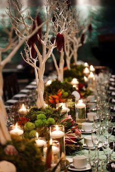 Centerpiece for a long table featuring manzanita branches, greenery, flowers, and candles.
