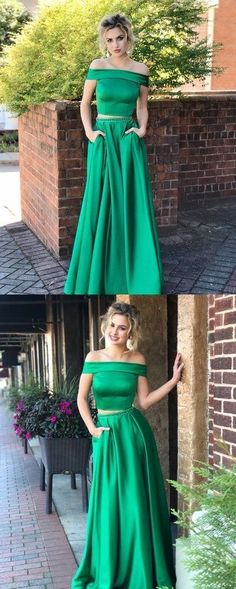 Customized service and Rush order are available. Green Two Pieces Off Shoulder Satin Long Prom Dresses with Pocket, Two Pieces Green Formal Dresses, Green Evening Dresses Prom Dresses With Pockets, Prom Dresses For Teens, Dresses Short, Prom Dresses Online, Cheap Prom Dresses, Homecoming Dresses, Party Dresses, Banquet Dresses, Grad Dresses