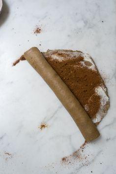 Making cinnamon buns to bake off on Christmas morning.