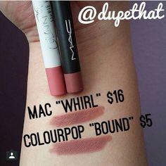 Mac Whirl vs. ColourPop Bound @theglamourindex Instagram                                                                                                                                                     More