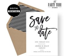 Save the Date Invitation , Save the Date Invite , Wedding Invite , Printable Invitation , 5x7 , A6 , Modern Wedding
