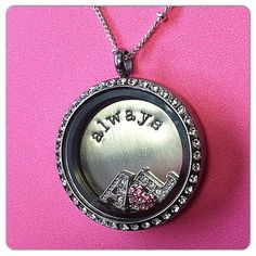 Couples Themed Locket. Her's and his first initial with a pink heart and the Always plate.  www.locketsbymichelle.origamiowl.com