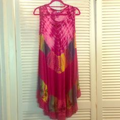 Bright Dress/Cover Up Fun dress that I've worn as a dress with sandals in summer nights! And as a cover up! See pic 3 for two small spots. They are only noticeable when looking for them. Indian Tropical Fashion Swim Coverups