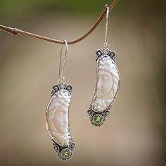 Peridot dangle earrings, 'Rose Queen' - Peridot and Bone Sterling Silver Dangle Earrings