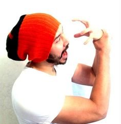 Mens Beanie Hat, gift idea, sporty, Slouch cap, snow gear, Men Clothes ,unisex- Green & Bright Orange Knit-  up cycled ecofriendly, guy gift