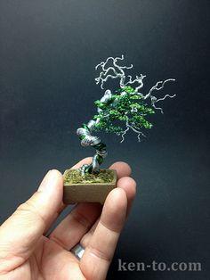 Green wire bonsai tree sculpture by Ken To by KenToArt on deviantART