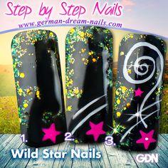 Step by Step - Wild Star Nails by www.german-dream-nails.com zum Nachmachen... Zur Anleitung: http://www.german-dream-nails.com/content/Nailart-Anleitungen.html #nailart #stepbystep #stars