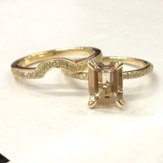 Emerald Cut Morganite Engagement Sets Pave Diamond Wedding 14K Yellow Gold 6x8mm