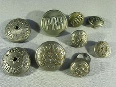 Lot of 9 Pennsylvania Railroad Buttons Conductor, Baggage Handler & Agent
