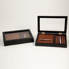 Bey-Berk Black & Burgundy 13 Slot Pen Box