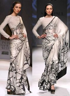 White Sequin Work Raw Silk Pure Silk Printed Designer Sarees…