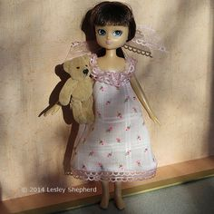 Lottie doll in a simple hand sewn nightdress with gathered ribbon trim, for any size doll