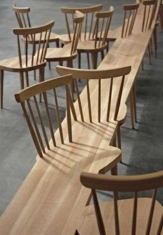 wooden bench with chair backs