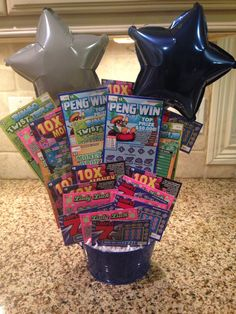 Scratch Off Lotto Ticket Silent Auction Basket Raffle Gift Basket Ideas, Raffle Baskets, Gift Ideas, Lottery Ticket Tree, Fundraiser Baskets, Diy Father's Day Crafts, Fathers Day Gift Basket, Silent Auction Baskets, Creative Money Gifts