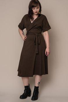 b37bc75cc259e Olive Rib Knit Wrap Dress – Altar PDX Ethical Clothing, Made Clothing,  Ethical Fashion