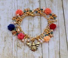 Colorful bumble bee charm cha cha bracelet gold by wilywolverine