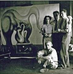 Max Ernst, Leonora Carrington, Marcel Duchamp and André Breton, New York 1942.