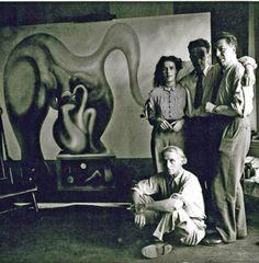 Max Ernst, Leonora Carrington, Marcel Duchamp and André Breton, New York 1942.