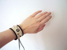 Leather Cuff Bracelet, Wide Pearl Wristband, Statement Suede Jewelry, Cream and Black Leather Wrist Jewelry, Cutout Embellished Leather Cuff