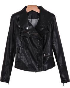 Black Long Sleeve Shoulder Pads PU Leather Jacket - Sheinside.com