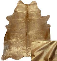 Gold Metallic Cowhide Leather Rug Animal Skins