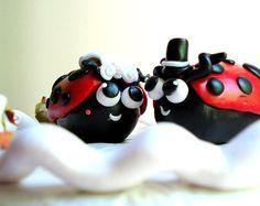 Items similar to Bride and Groom Ladybugs, Lovebugs, Custom Wedding Cake Topper, Handmade Personalized Clay Figurines, Cute Wedding Decoration, Love Bug on Etsy