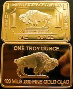 1oz Ounce GOLD BUFFALO BAR 100 Mills .999 24k