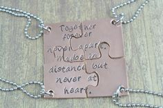 Personalized Set of FOUR Copper Puzzle Piece Necklace or Key Chain Set, Family Jewelry, Best Friends Jewelry, Hand Stamped by MissAshleyJewelry $60
