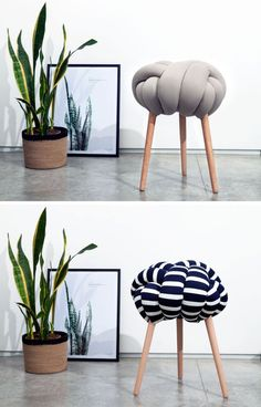 These modern stools are made from solid or patterned fabric stuffed with foam filling and are secured to Beech wood legs. Diy Furniture Chair, Cheap Furniture, Rustic Furniture, Modern Furniture, Furniture Design, Discount Furniture, Furniture Buyers, Futuristic Furniture, Furniture Online
